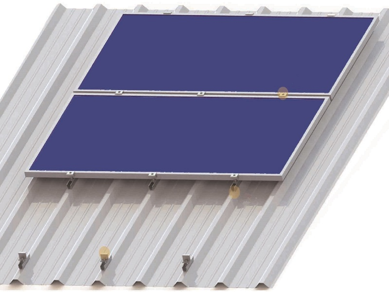 Pitched railless tin roof mounting structures